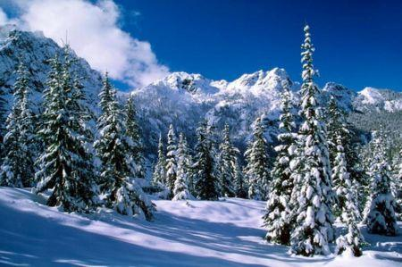 Snow in the hilly mountains
