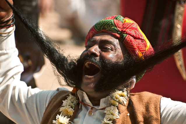 Person enjoying during the festival in Jaisalmer