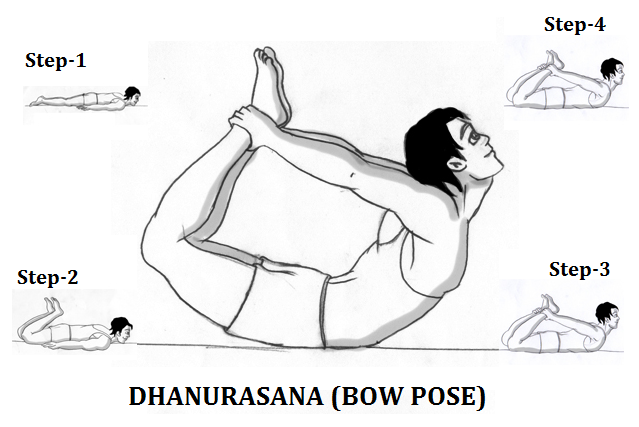 Different steps of Dhanurasana