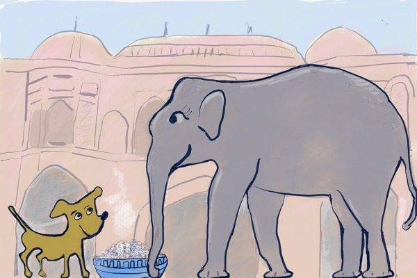 The elephant and the dog story from Jataka Tales