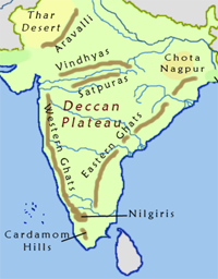 Map of Deccan Plateau