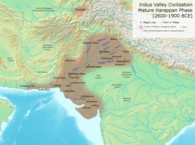 Map of Indus valley civilisation