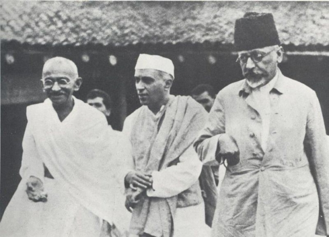 Azad with Gandhi and Nehru